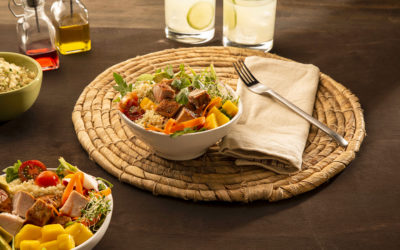 Recetas con cerdo: Bol de quinoa y lomo de cerdo con mango